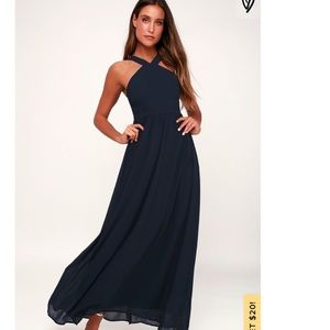 Lulu's air of romance navy blue maxi formal dress